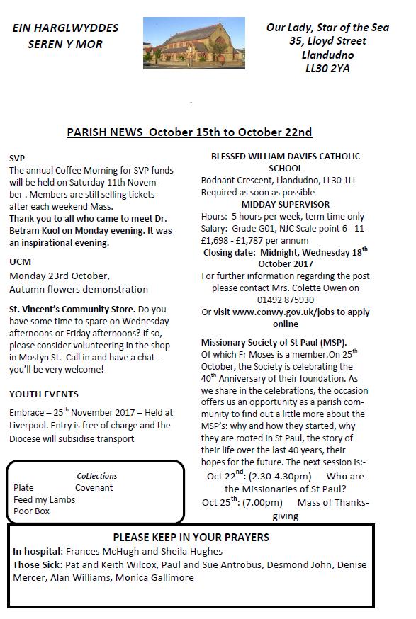 Earlier Newsletters   Catholic Church, Llandudno